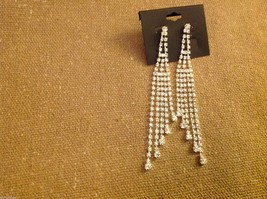Beautiful silver plated and loads of rhinestones 4 inch drop earrings sparkly image 4