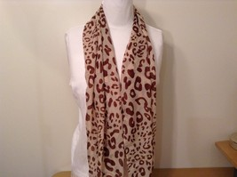 Beige Brown Leopard Print Scarf 100 Percent Polyester NEW WITHOUT TAG image 2