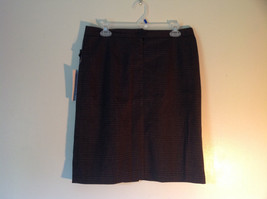 Black and Brown Dressbarn Skirt 2 Pockets with Buttons No Size Tag Slit in Back