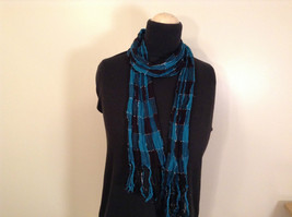 Black and Turquoise Pleated Scarf Length 60 Inches Width 4 Inches