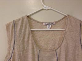 Beige Linea Donatella Size Large Sleeveless Top Uneven Bottom Lace on Back image 4
