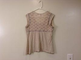 Beige Linea Donatella Size Large Sleeveless Top Uneven Bottom Lace on Back image 2