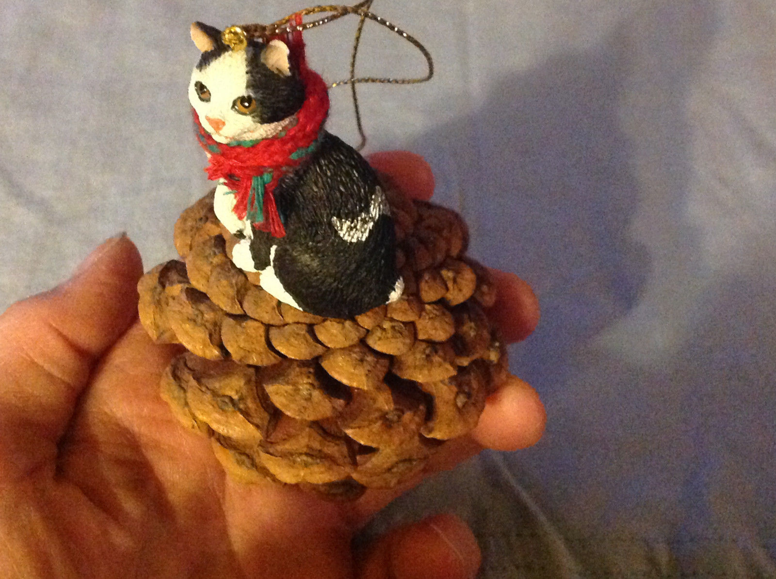 Black and White Cat Ornament Real Red Pine Cone Real Fabric for Scarf