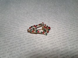 Bell Inlaid with Swarovski Elements Crystals Green Red White Pin Gold Tone image 3