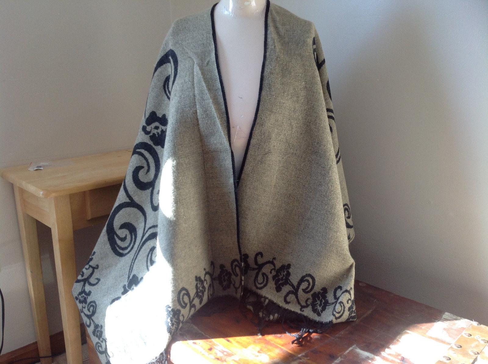Black and Tan Floral Design Tasseled Shawl Warm Ruana