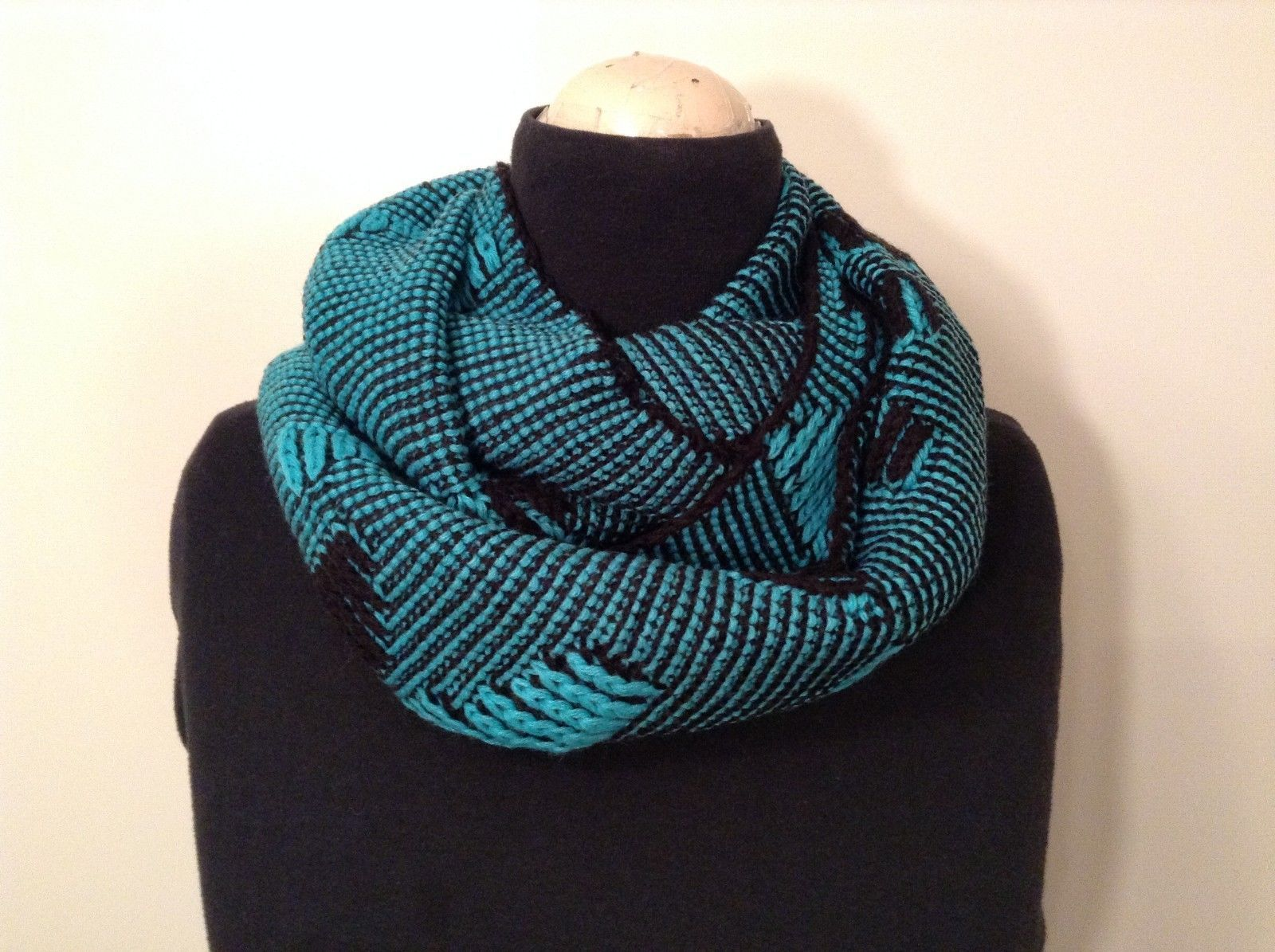 Black and Turquoise Infinity scarf warm fashion accent