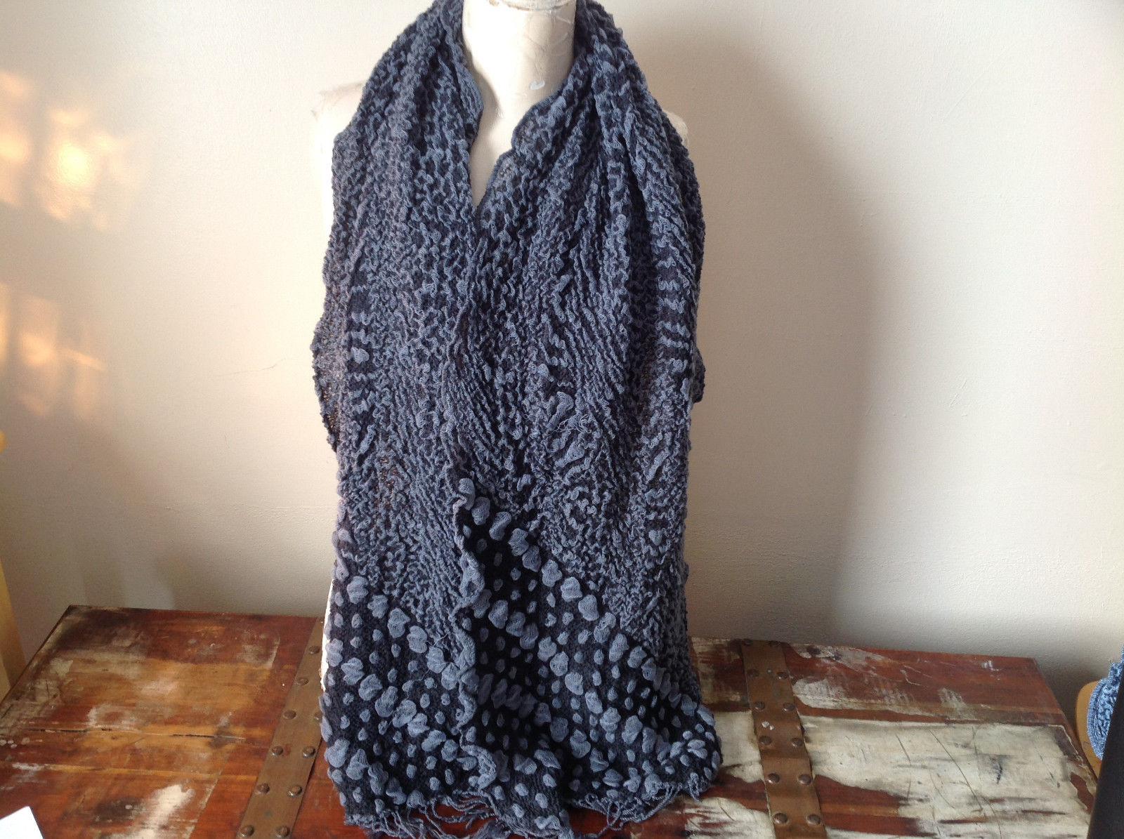 Black and Gray Boho Style Scarf with Dots