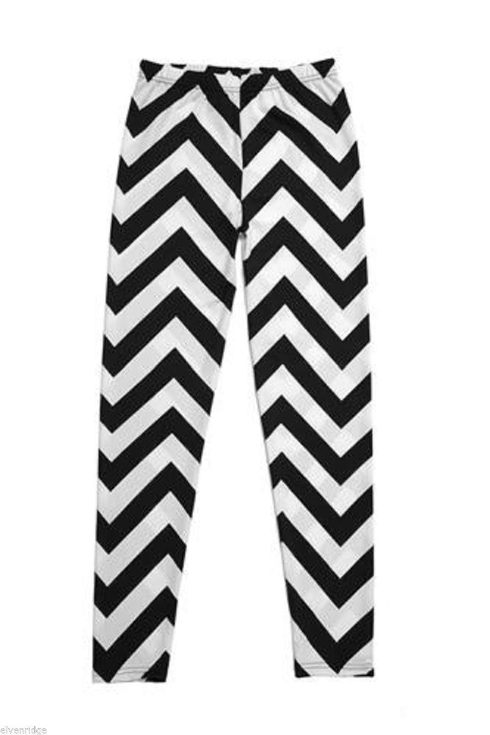Black and White Chevron Leggings One Size Fits All New in Package