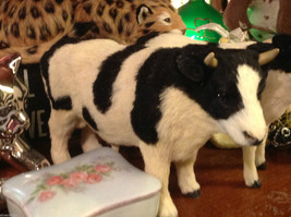 Black and White Holstein Bull Animal Figurine - recycled rabbit fur