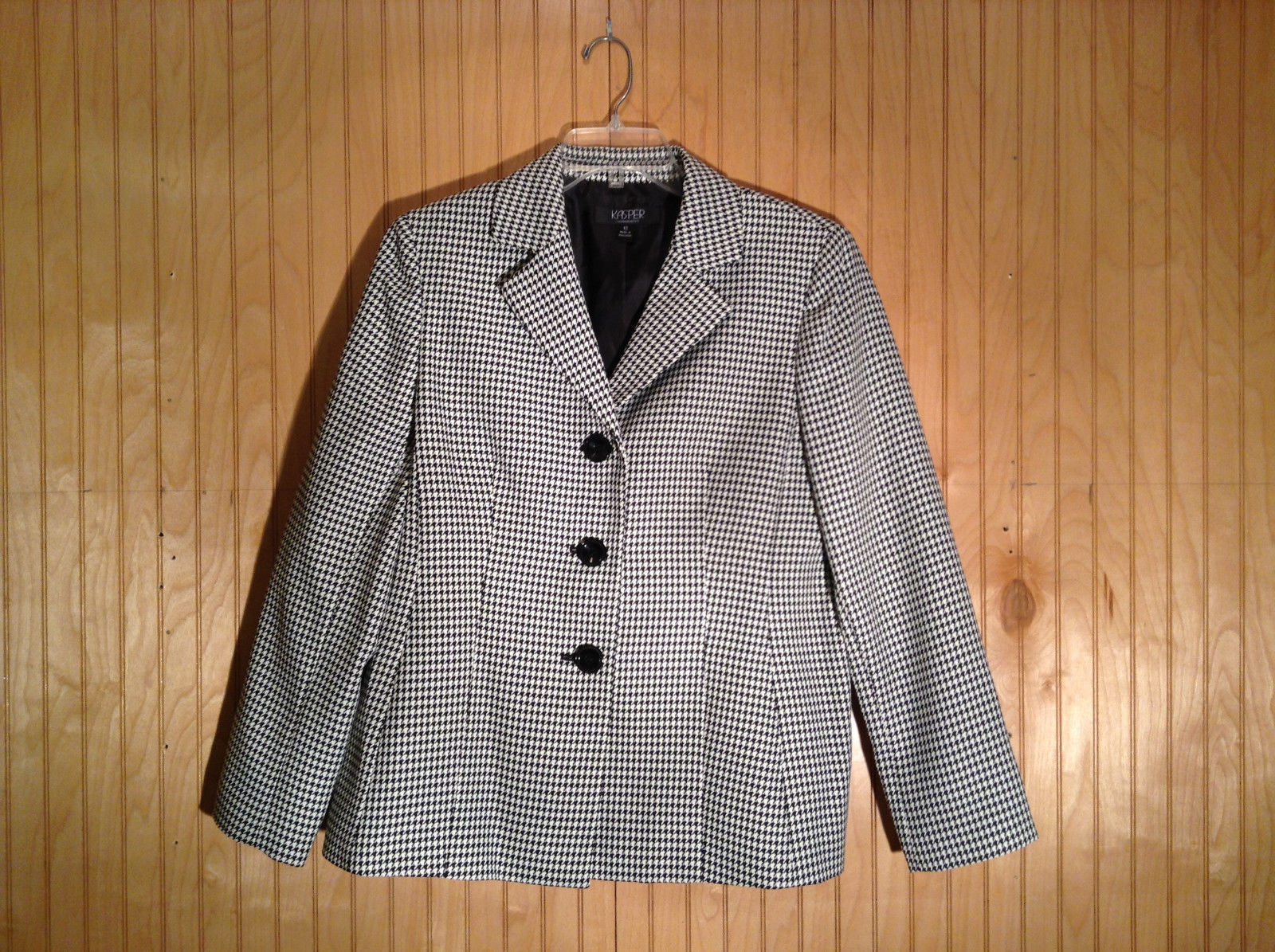 Black and White Houndstooth Button Up Blazer by Kasper Size 12 Padded Shoulders