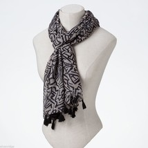Black and White Print Scarf with Tassels