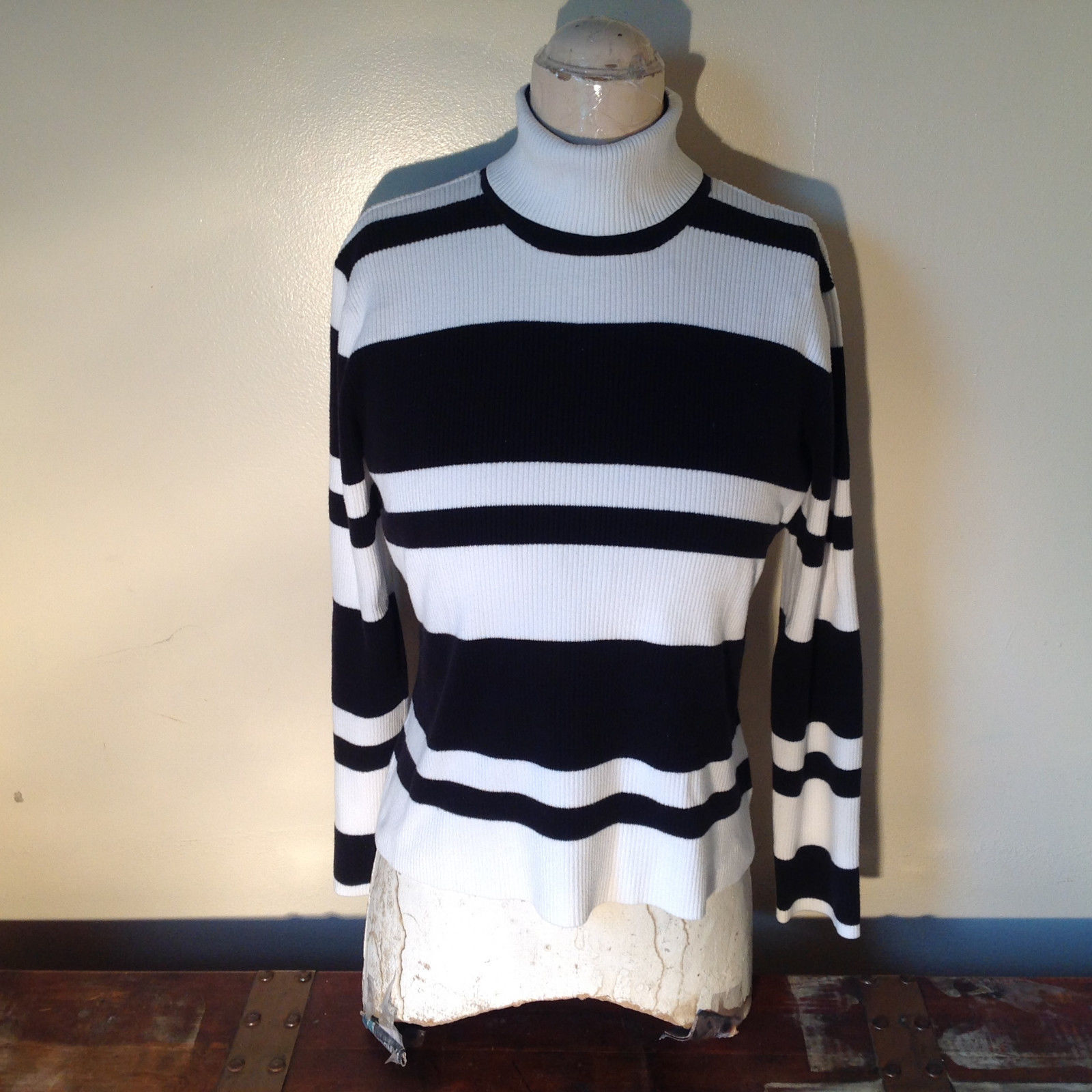 Black and White Striped Long Sleeve Turtleneck Sweater Worthington Size XL