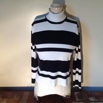 Black and White Striped Long Sleeve Turtleneck Sweater Worthington Size XL