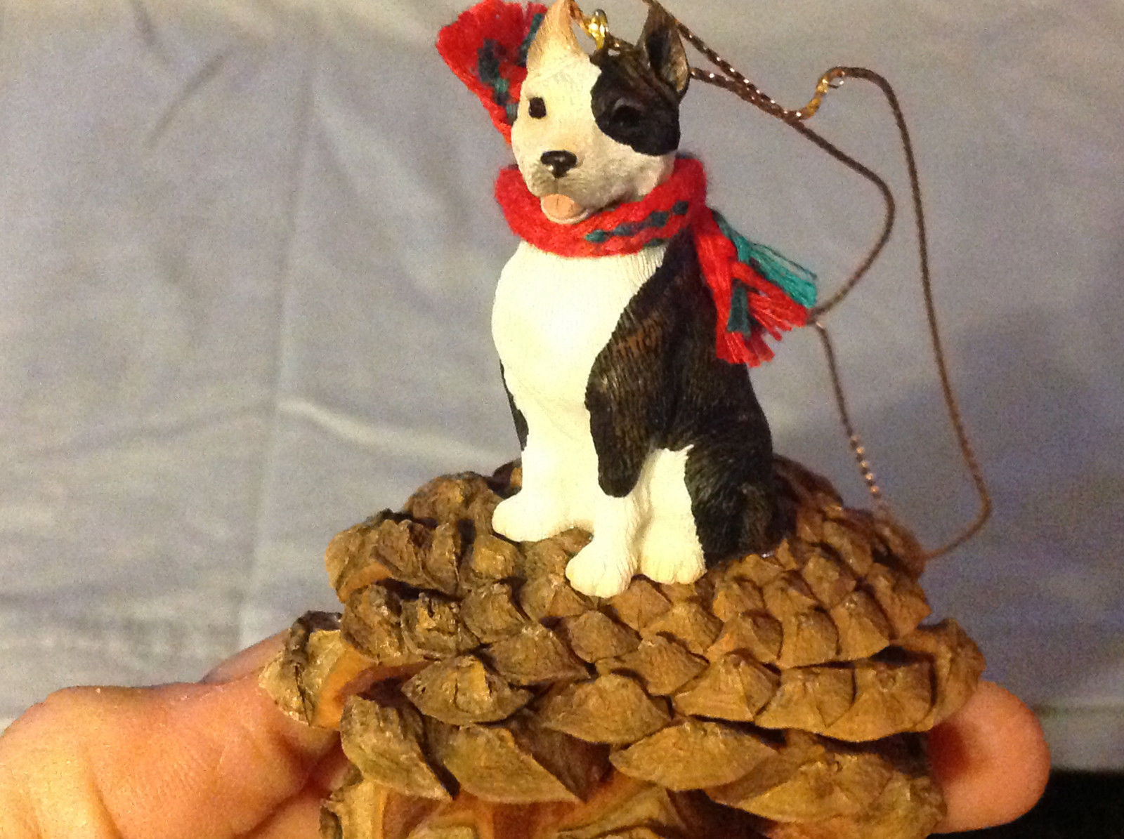 Black and White Terrier Animal Ornament on Real Red Pine Cone Real Fabric Scarf