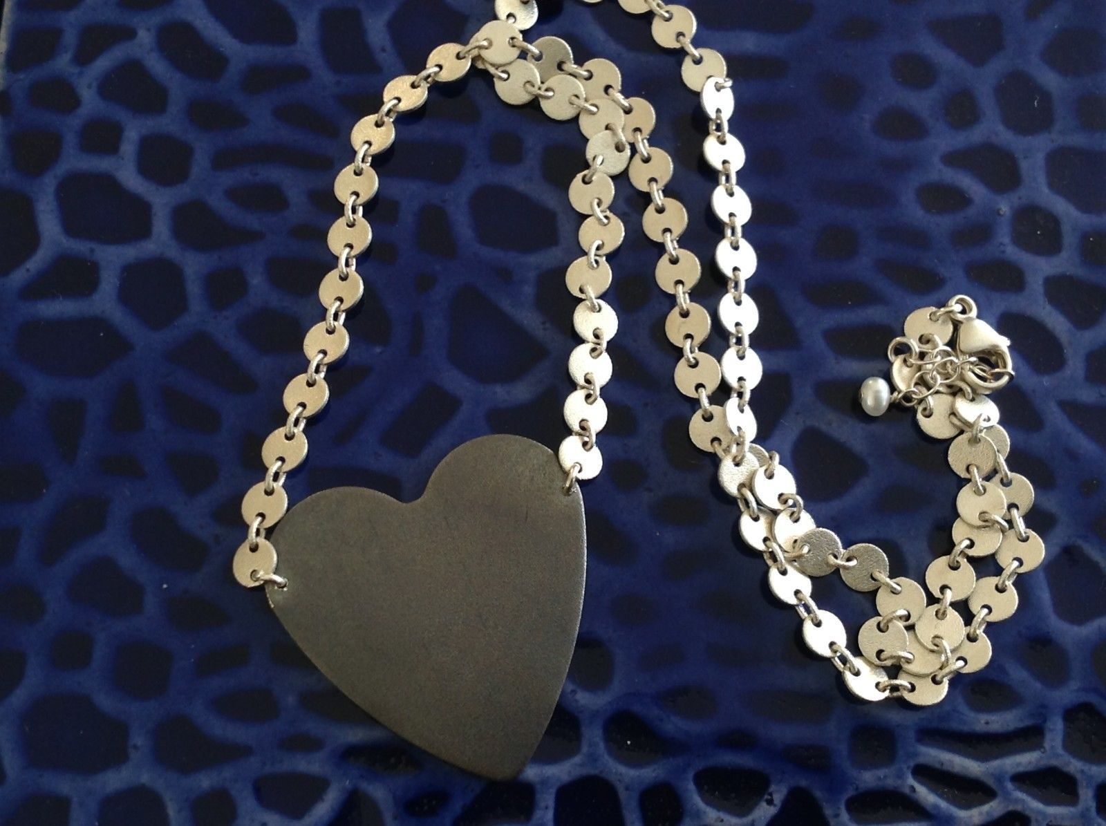 Black oxidized heart unique chain Necklace Zina Kao Pearl accent close USA made