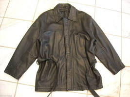 Black leather coat size Large  men's style