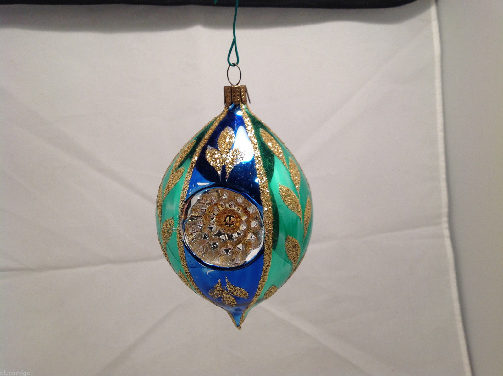 Blue Green Oval Blown Glass Gold Glitter Leaves Holiday Ornament