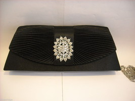 Black pleated silk  Trapezoid Clutch Purse w Rhinestone Medallion on Front Flap