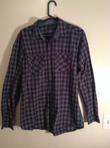 Blue Green Red Plaid Button Up Long Sleeve GAP Shirt 2 Front Pockets Size Large