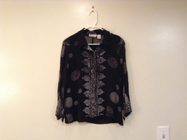 Black with Floral Circle Pattern Button Front Blouse New Your City Design Size L