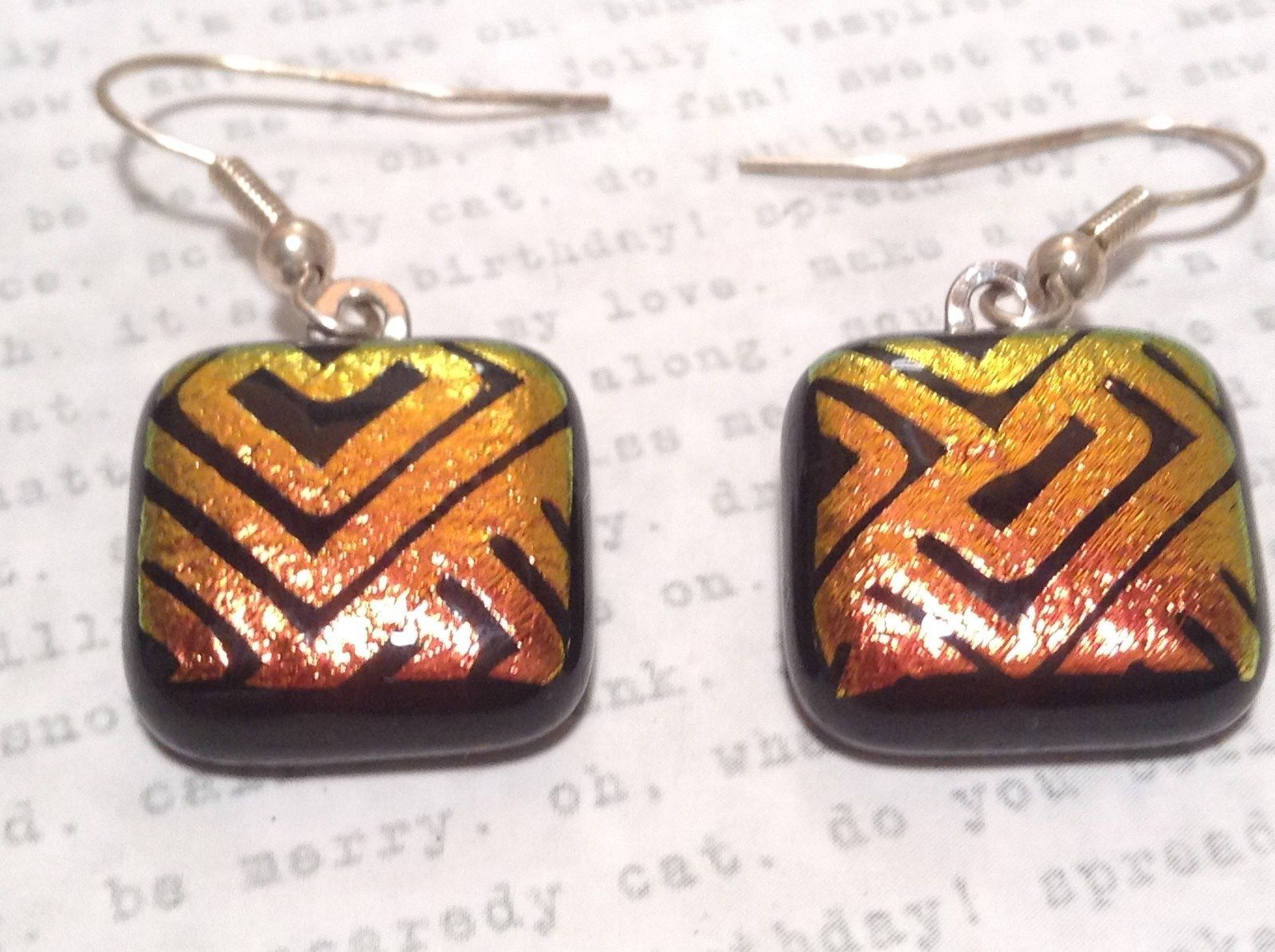Black with Orange Yellow Metallic Accents Square Shaped Glass Dangling Earrings