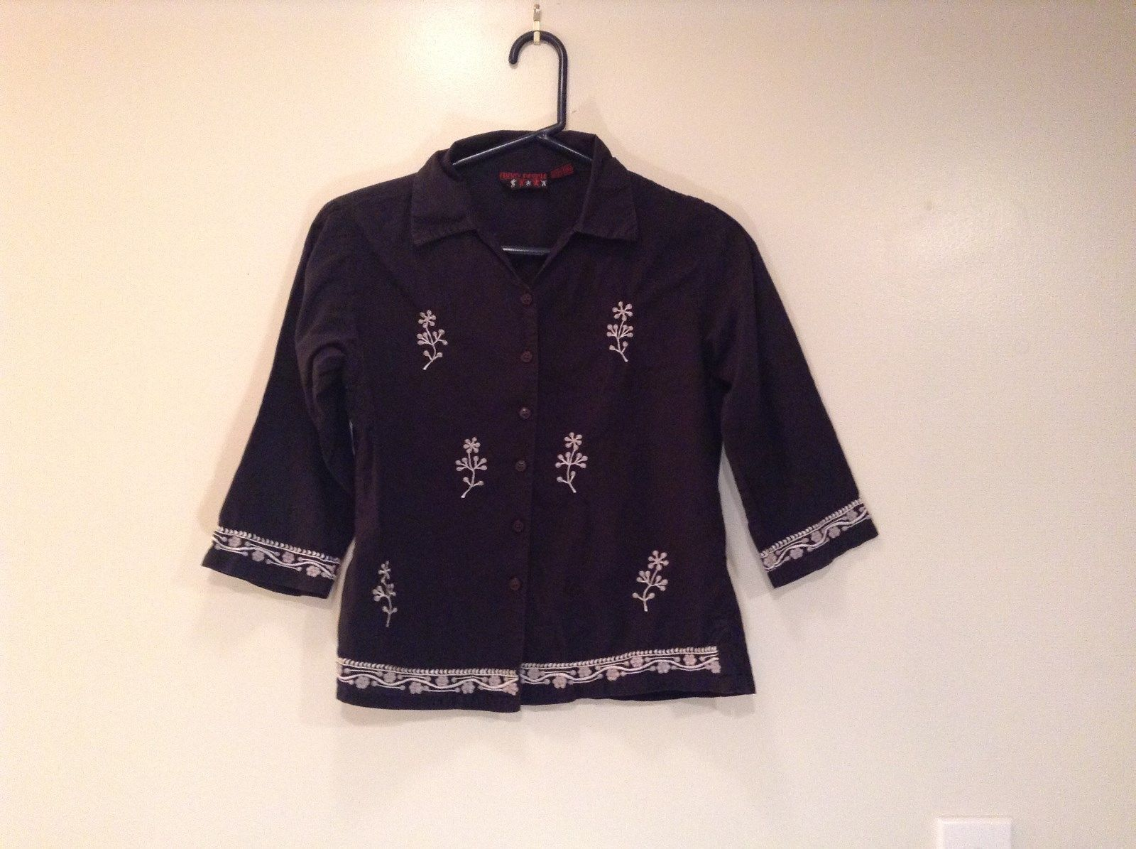 Black with White Embroidery Button Down Funky People Shirt Size Medium