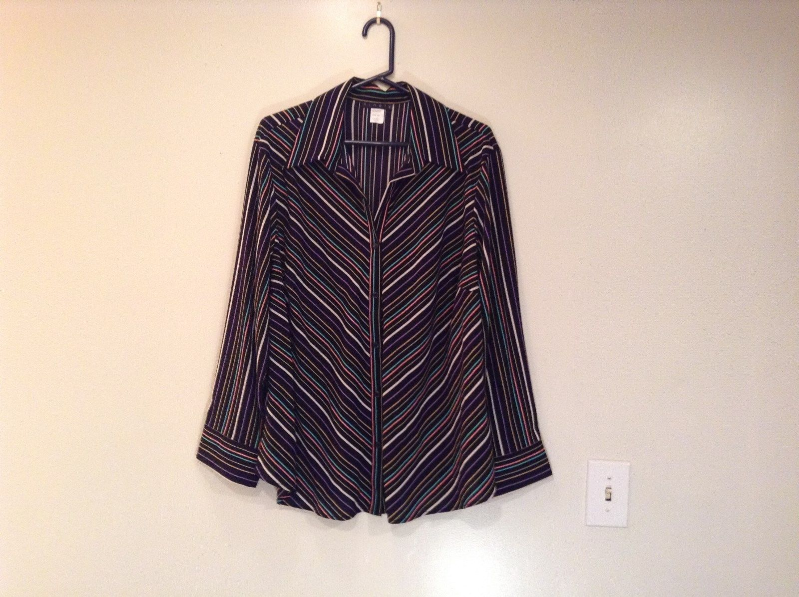 Black with Multicolored Stripes Button Down Shirt by Ninety Size 3X Long Sleeves