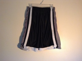 Black with Gray White Basketball Shorts Champion 100 Percent Polyester Size M