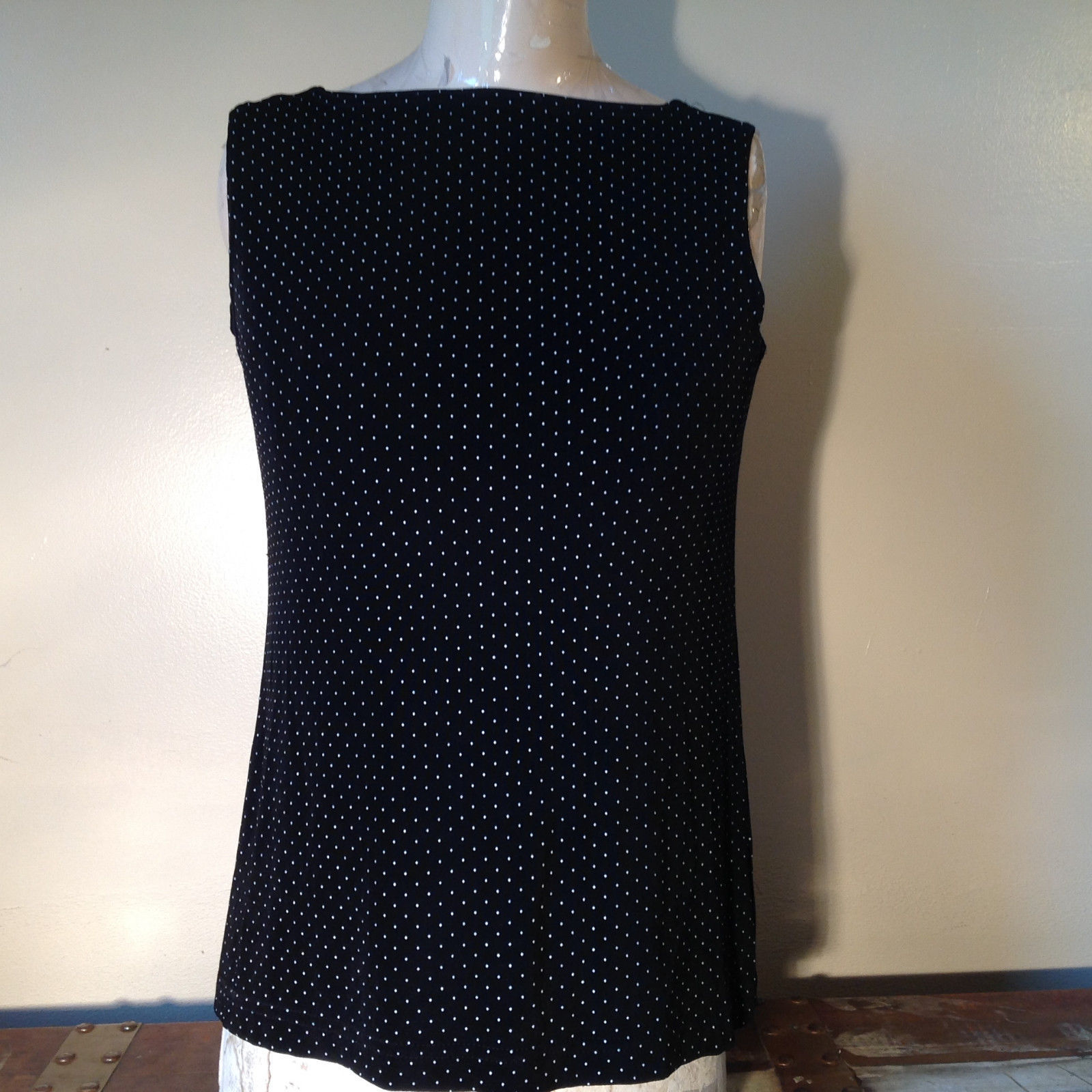 Black with White Dots Dressy Blouse NO TAG Sleeveless See Measurements Below