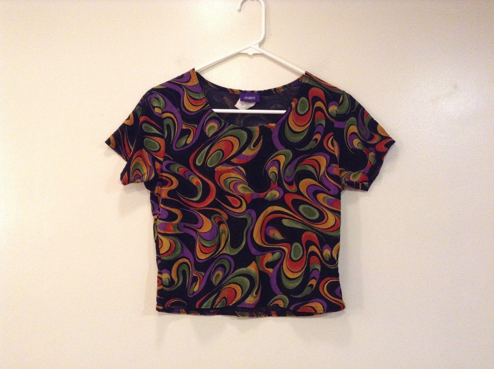 Black with Green Red Orange Violet Stripes Resource Short Sleeve Blouse Size M