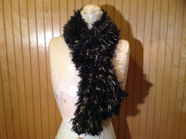 Black with Gold Specks Fuzzy Circle Scarf Can Be Worn Multiple Ways NO TAGS