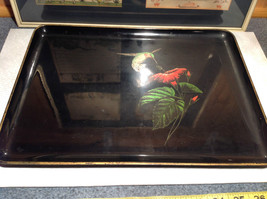Black with Hummingbird on Front Serving Tray Platter Made in Japan Otagiri