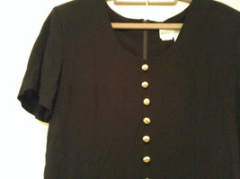Betsys Things Size 12 Short Sleeve Black Dress Front Slit 18 Buttons on Front image 2