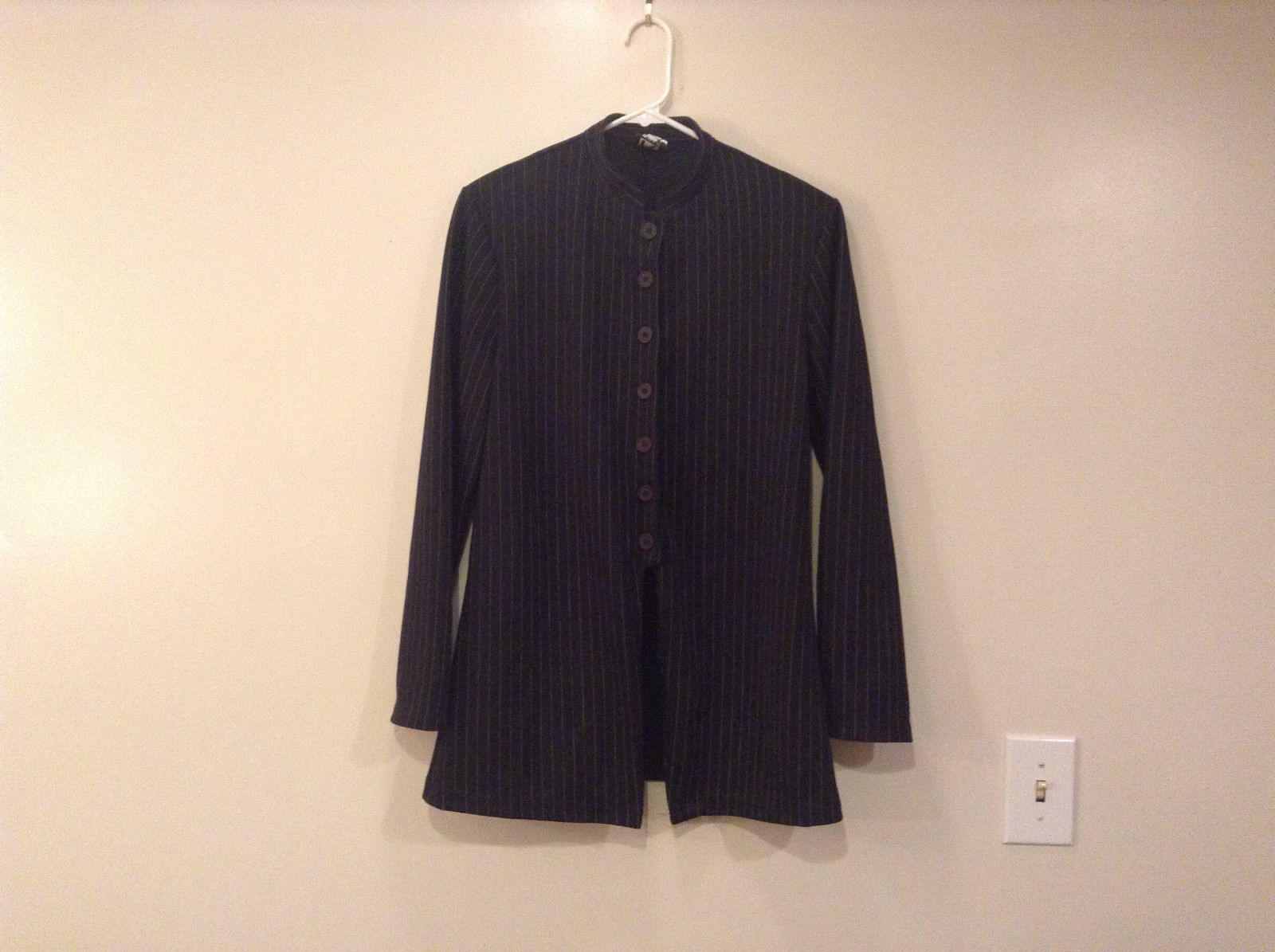 Black with White Stripes R Wear Jacket Size 11 Unusual Cut Stand Collar