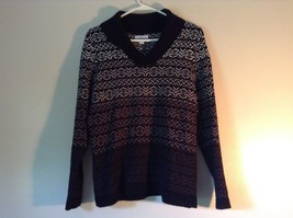 Black with White and Gray Soft Long Sleeve Croft and Barrow Sweater Size Medium