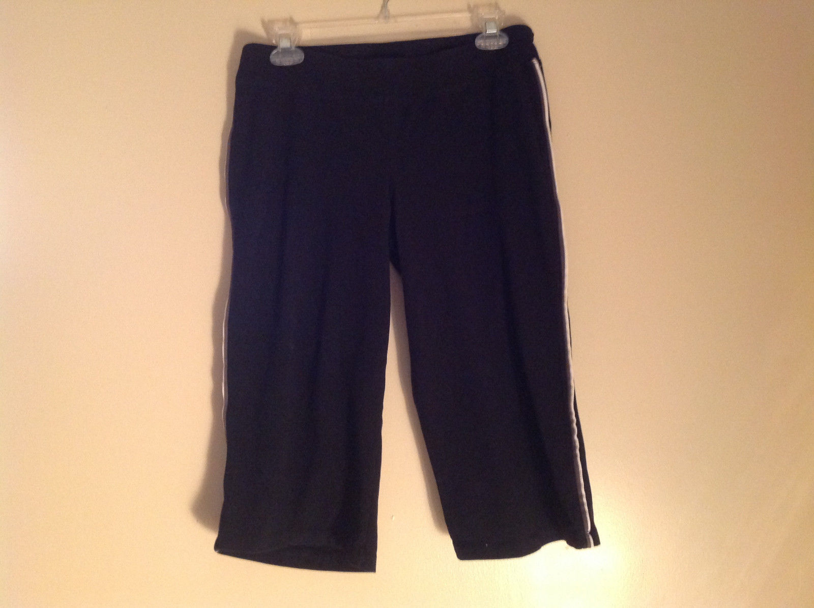 Black with White Line Down Side Workout Pants Champion Drawstring Waist Size M