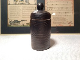 Black Clay Jar Circular Ridges and Designs 4 Inches High With Top image 3