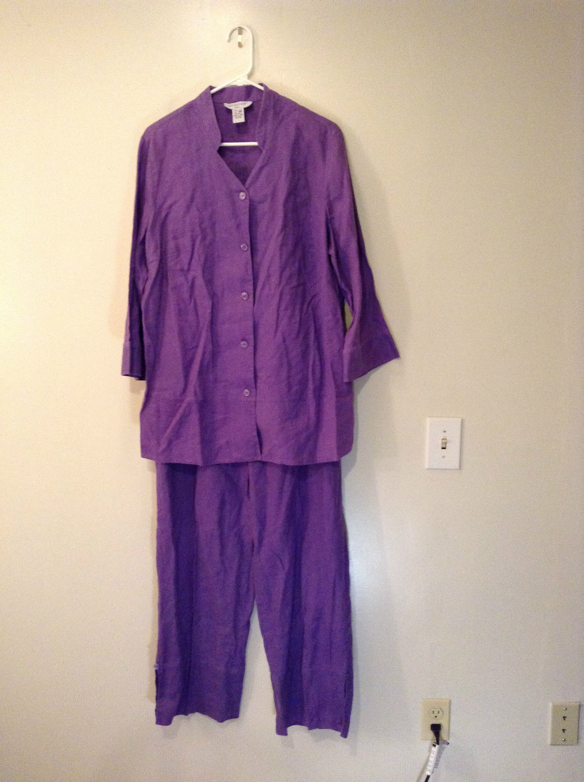 Blouse and Pant Set Paraphrase Woman Size 18W Dark Lavender Button Up Front