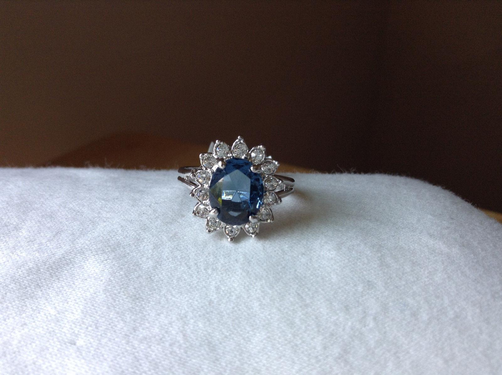 Blue CZ Stone Sunburst White Stone Border Stainless Steel Ring Size 7 and 7.75