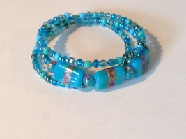Blue Coil Bracelet Large Beads Adjustable Size