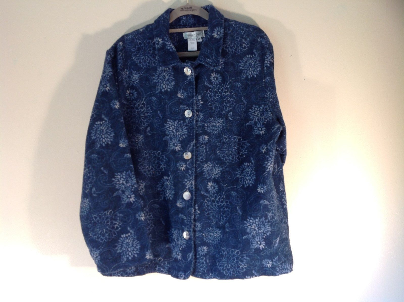 Blue Button Up Long Sleeve Floral Pattern Coldwater Creek Top Size M Made in USA