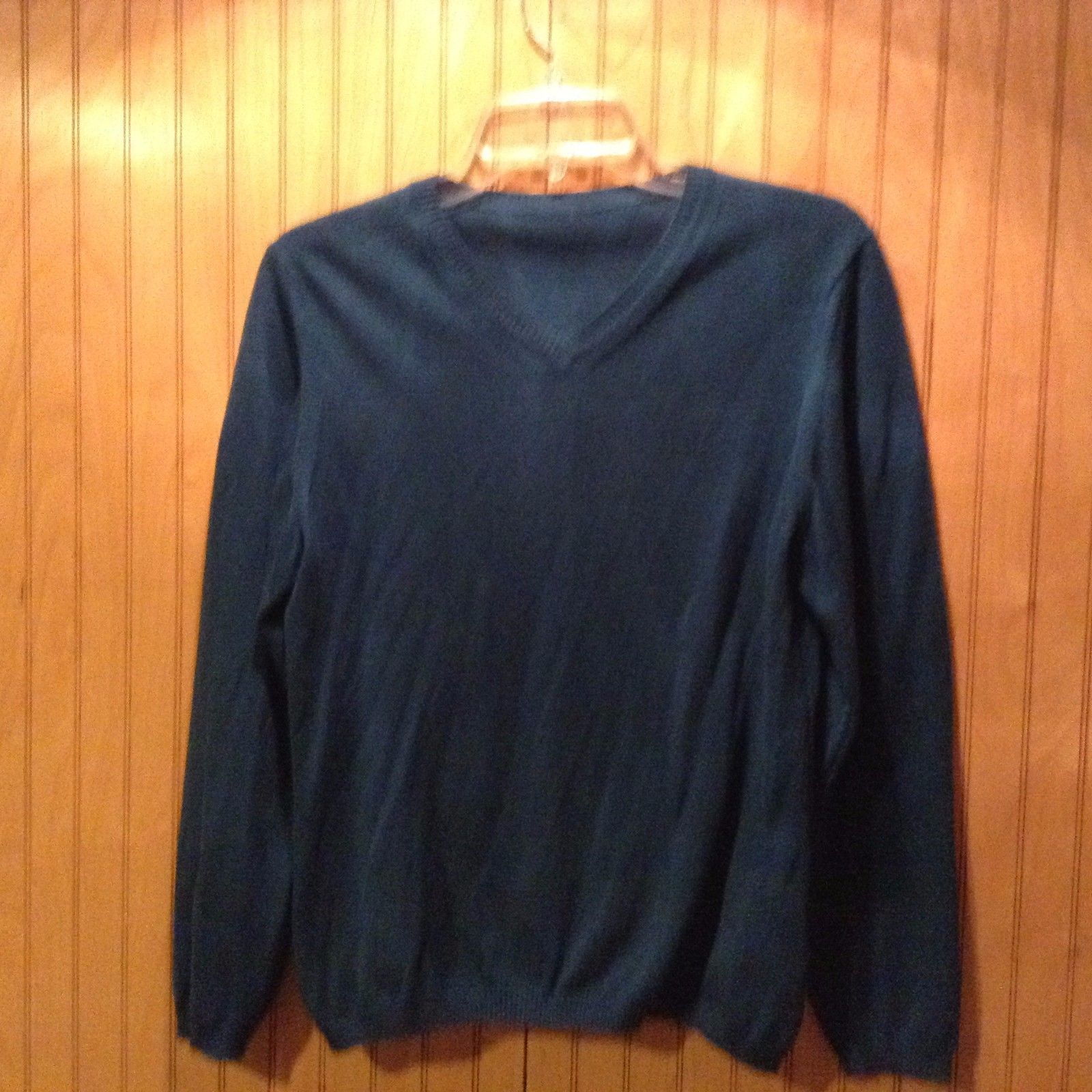 Blue Cashmere Sweater Made in Italy V-Neck Long Sleeve