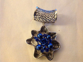 Blue Crystals and Stones with Blue Rose in Center Silver Tone Scarf Pendant