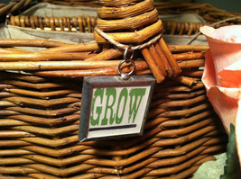 """2 Sided Charm - """"Grow"""" w/ picture of Watering Can image 2"""