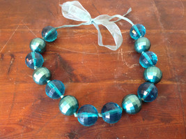 Blue Green Bead Necklace on Fabric Chain Clear and Opaque Beads Adjustable