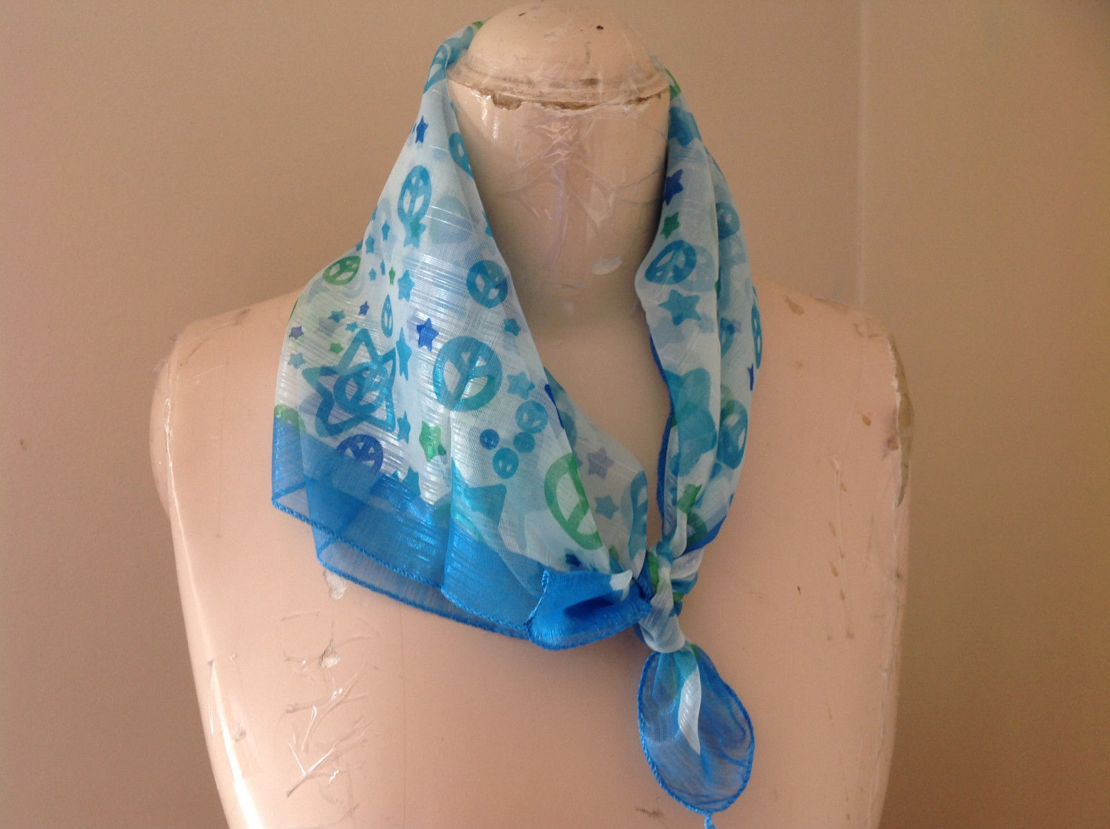 Blue Green Star Peace Sign Square Scarf Light Weight Material 22 by 22 inches