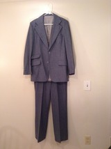 Blue Gray Light Stripes Wool Handmade Jacket Vest and  Pant 3 piece Suit