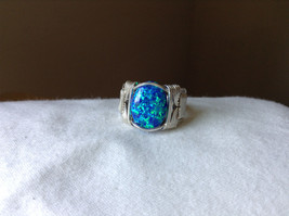 Blue Multi Hue Synthetic Opal Stone Handmade Wire Real Silver Ring Size 7