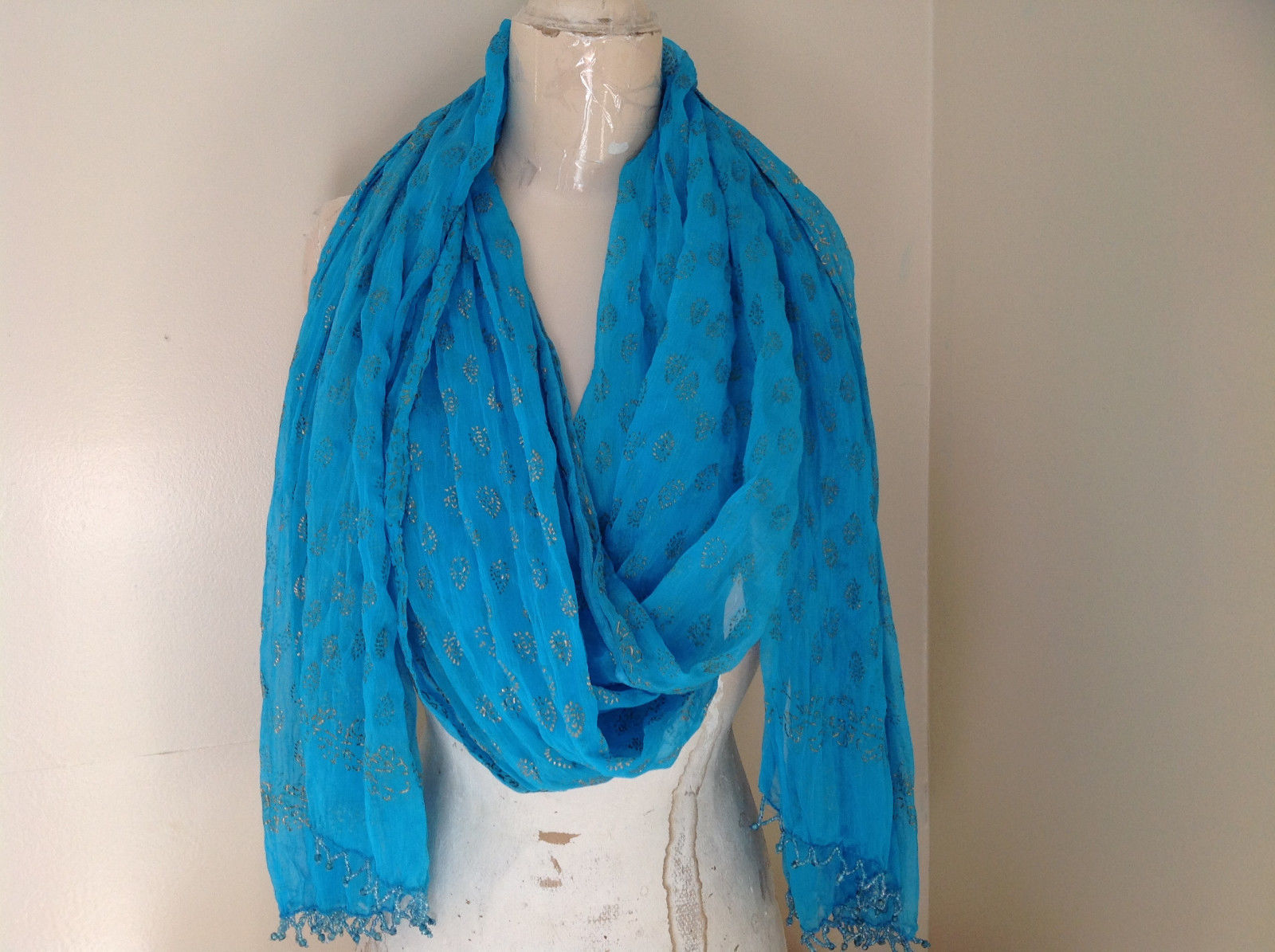 Blue Real Gold Stamped Embossed Beaded Scarf Scrunched Design Beaded Tassels