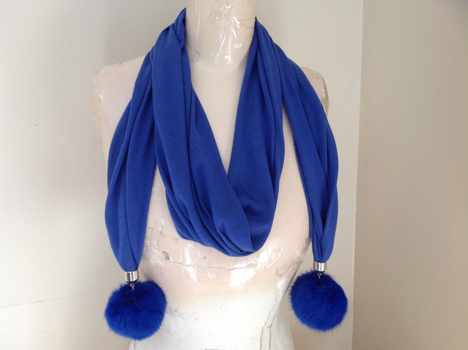 Blue Rabbit Fur pom pom Decorated Fashion Scarf 70 Inches Long 16 Inches Wide